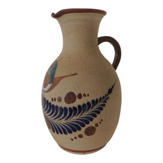 Large Mexican Talavera Water Jug With Handle For Sale