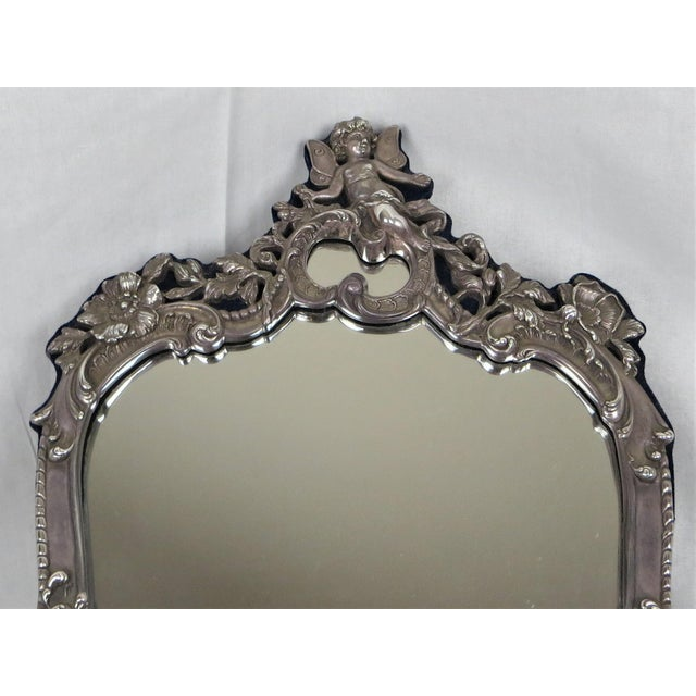 Traditional Vanity Sterling Silver Vintage Mirror On Easel Stand For Sale - Image 3 of 7