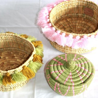Moroccan Succulent Greens Tassel Small Basket Preview