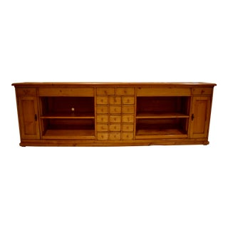 20th Century Rustic European Long Pine Sideboard With 19 Drawers For Sale
