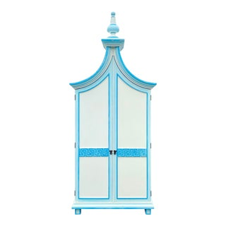 Vintage Coastal Flying Gable Armoire For Sale