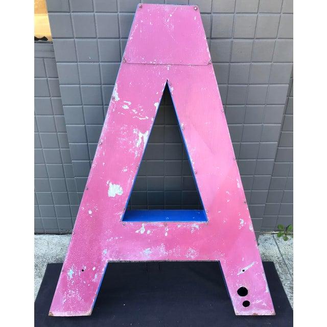 """Large Vintage Blue & White Enamel Metal """"L"""" Building Signage For Sale - Image 10 of 12"""