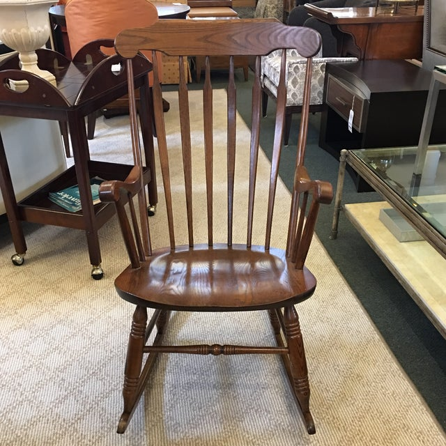 Design Plus Consignment Gallery presents a vintage rocking chair, manufactured by S. Bent & Bros. of Gardner,...