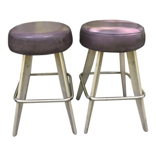 Space Age Modern Silver Color Bar Stools - a Pair For Sale