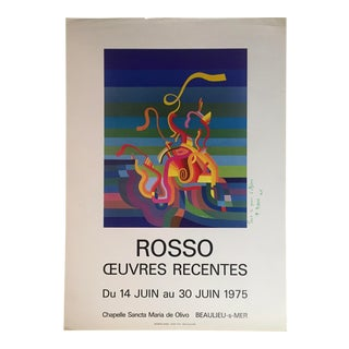 1975 Original Mid-Century Abstract Art Exhibition Poster Signed Rosso For Sale