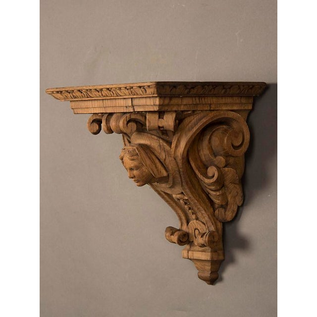 19th Century French Henri II Style Portrait of Young Lady Oak Wall Bracket For Sale - Image 4 of 5