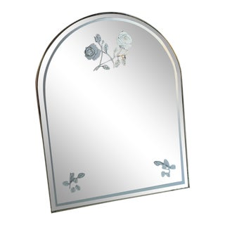 1990s Vintage Rose Edged Mirror For Sale