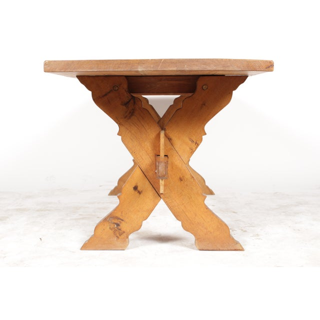 French Country-Style Trestle Table - Image 5 of 8