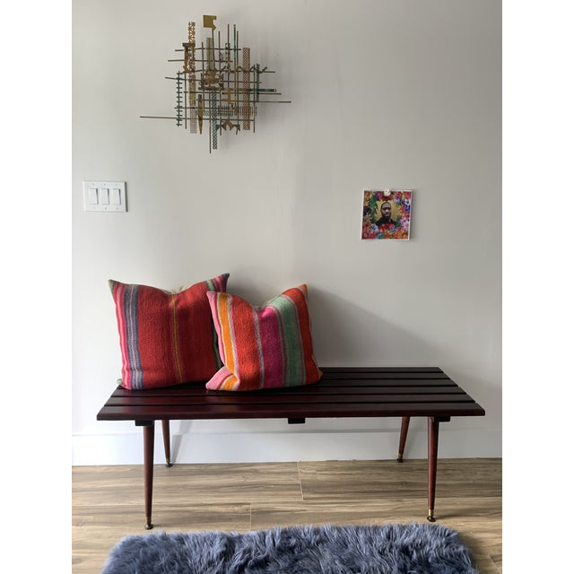 Mid-Century Modern Mid Century Refinished Slat Bench For Sale - Image 3 of 10