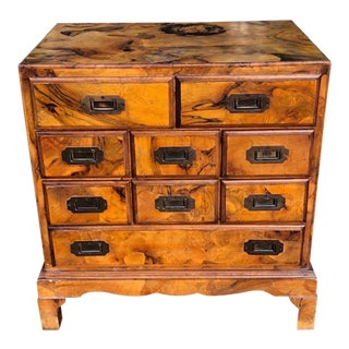 Vintage Oyster Burl Walnut Campaign Chest Night Stand End Table For Sale
