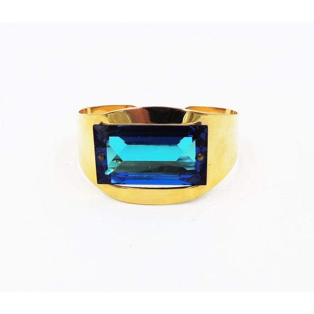 1970s Bijoux Cascio Italy Blue Rhinestone Cuff Bracelet For Sale In Philadelphia - Image 6 of 9