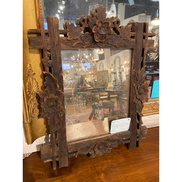 Late 19th Century Black Forest Carved Frame with Mirror For Sale - Image 5 of 5
