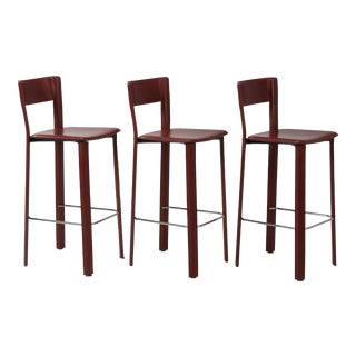 DWR Italian Red Burgundy Counter Leather Stool by Frag - a Set of 3 For Sale