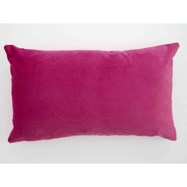 2010s FirmaMenta Italian Light Pink Velvet Polka Dot Lumbar Pillow For Sale - Image 5 of 5