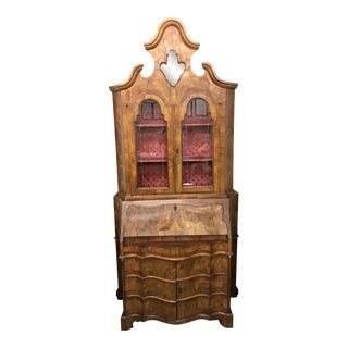 19th Century Venetian Inlayed Walnut Secretary Desk With Etched Glass For Sale