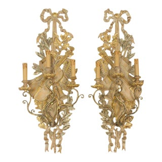 Italian Gilt Wood Musical Instrument Sconces For Sale