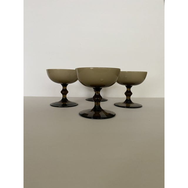 Glass Vintage Carlo Moretti Glass Champagne Coupes-Set of 4 For Sale - Image 7 of 10
