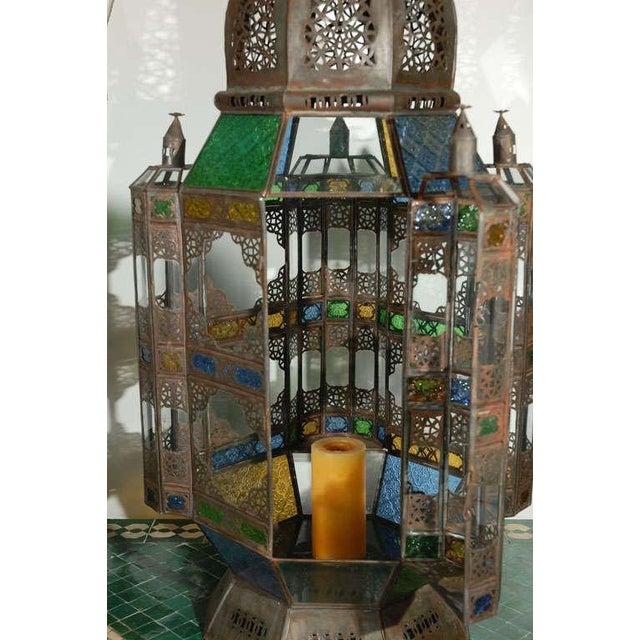 Islamic Vintage Moorish Glass Lantern From Marrakech For Sale - Image 3 of 10