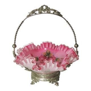 Victorian Silverplate Enameled Bride's Basket For Sale