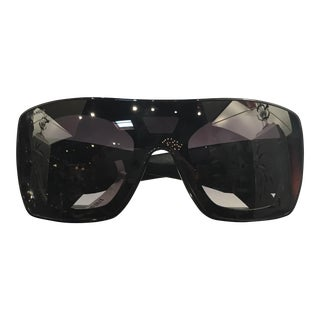 Contemporary Chanel Black Sunglasses With Quilted Leather Arms For Sale
