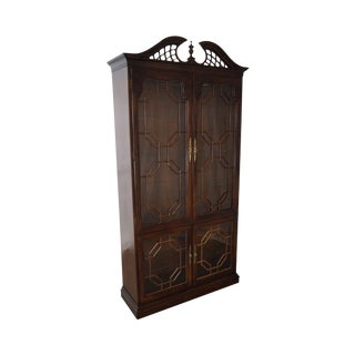 Thomasville Chippendale Style Tall Display Curio Cabinet For Sale