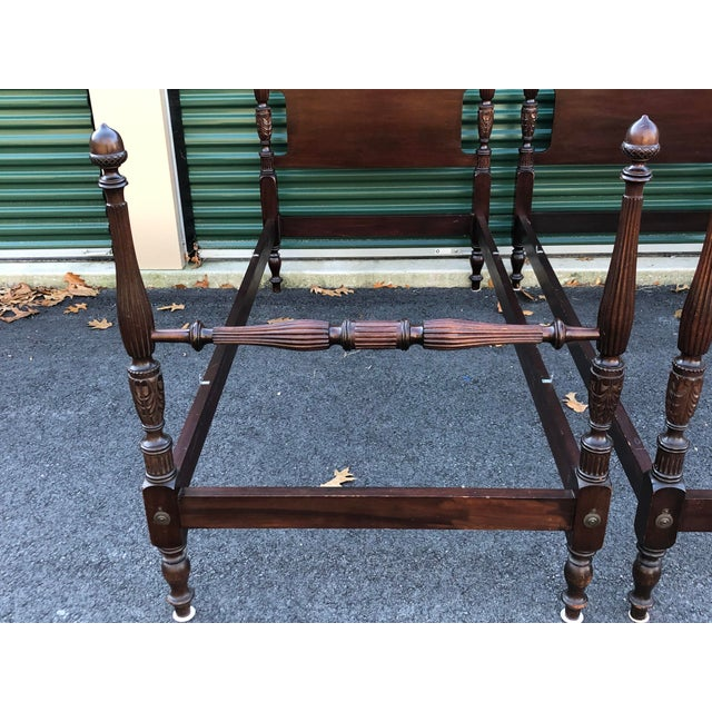 1970s Solid Mahogany Acorn Top Twin Beds- a Pair For Sale - Image 5 of 13