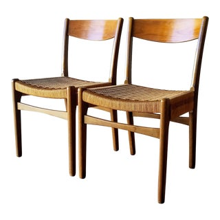 Swedish Mid-Century Modern Rope Dining Chairs - a Pair For Sale