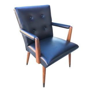 Mid-Century Black Vinyl & Walnut Arm Chair For Sale