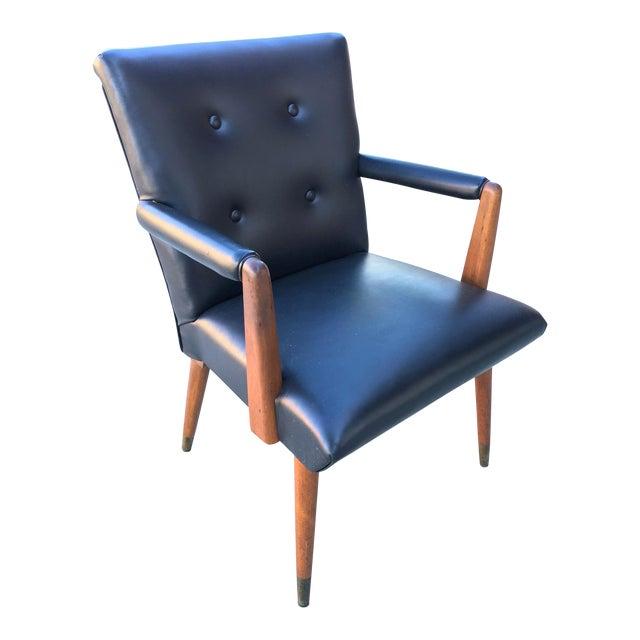Mid-Century Black Vinyl & Walnut Arm Chair For Sale
