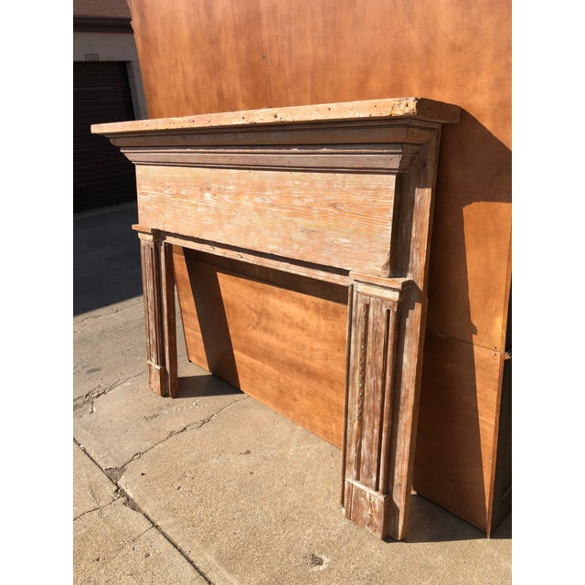 Rustic Antique Oak Mantle With White Distressed Stain For Sale - Image 3 of 6