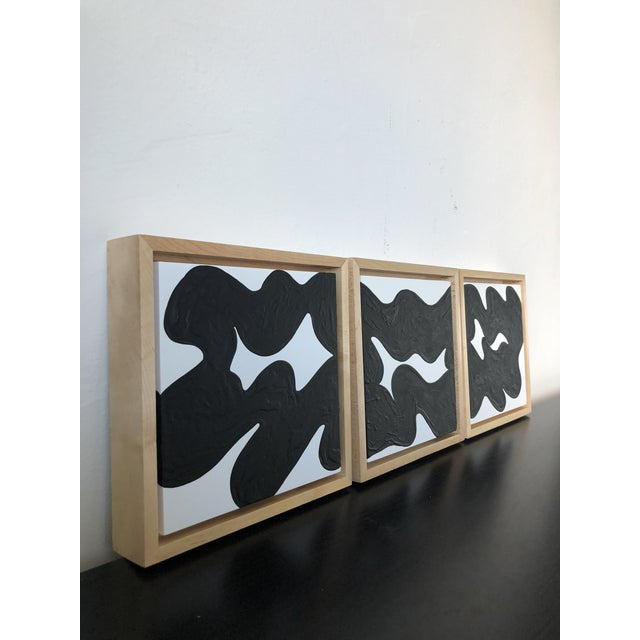 Abstract Wave Runner Abstract Black and White Framed Triptych For Sale - Image 3 of 7