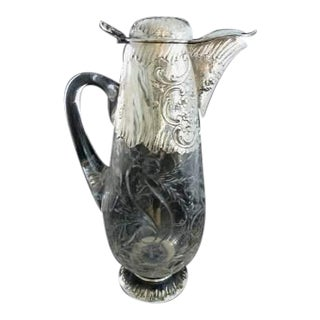 Antique French Sterling Silver & Crystal Decanter Wine Claret Jug Exceptional Design C 1895 Paris For Sale
