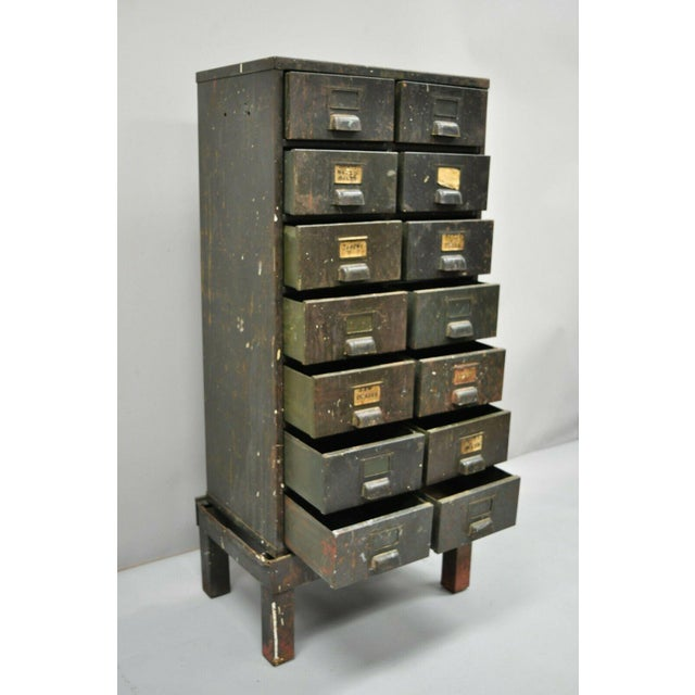Antique American Industrial Steampunk Modern 14 Drawer Steel Metal Tool Parts Cabinet op lifts off base, (Base slightly...
