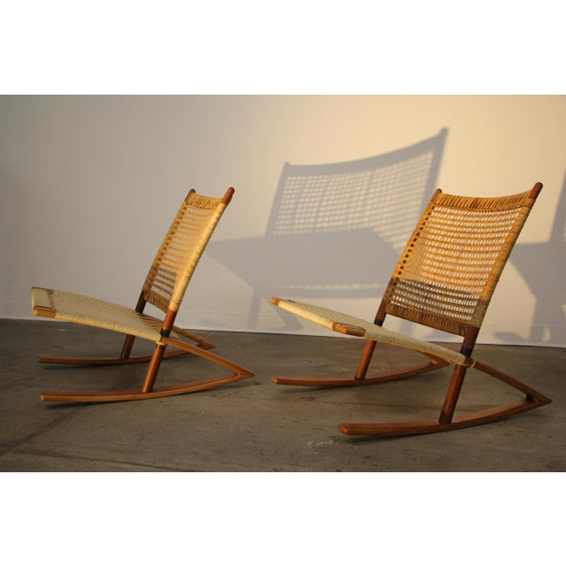 1950s Mid-Century Modern Frederik Kayser Rocking Chairs - a Pair For Sale - Image 12 of 13