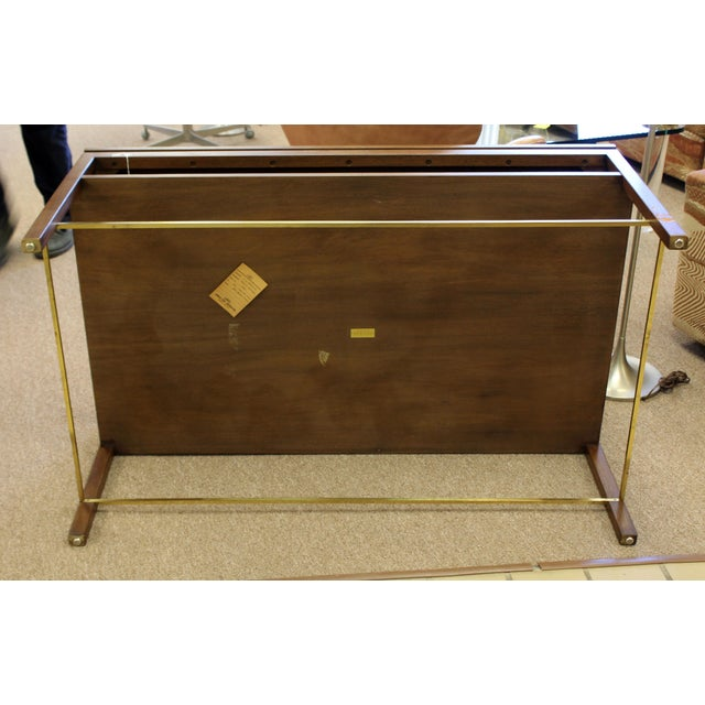 Mid Century Modern Wormley Dunbar Walnut Brass Coffee Occasional Console Table For Sale - Image 11 of 13