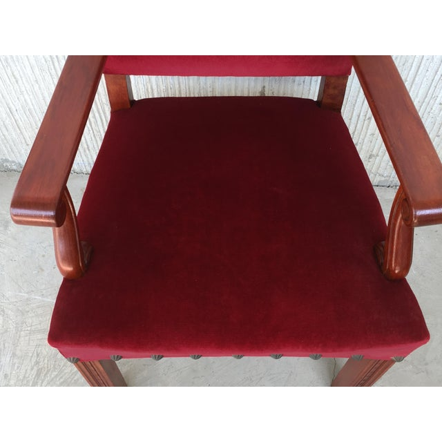 Red 19th Century Spanish Revival High Back Armchair With Red Velvet Upholstery For Sale - Image 8 of 13