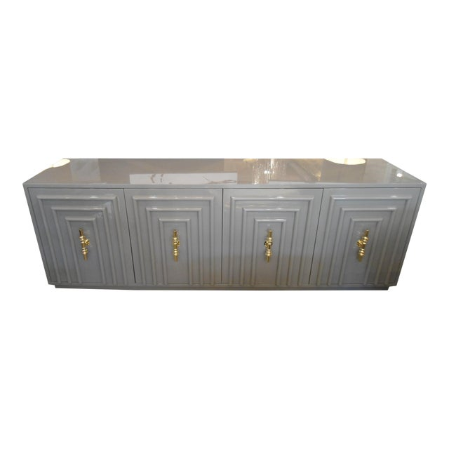 ModShop Art Deco Gray Lacquer W/ Gold Pulls Sideboard For Sale