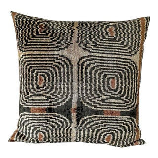 Mid-Century Style Silk Velvet Euro Down Feather Pillow For Sale