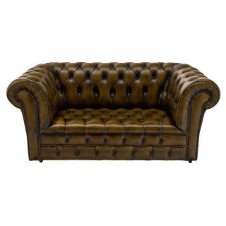 Vintage English Leather Chesterfield Sofa For Sale