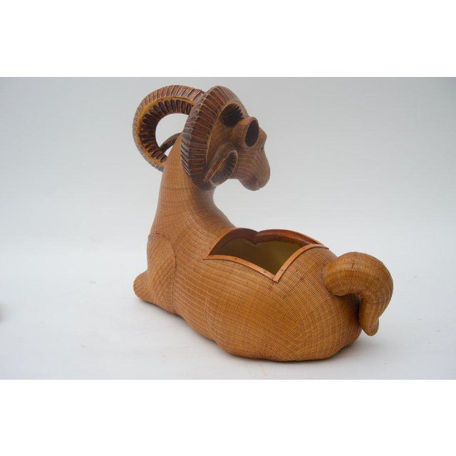 Vintage Mid-Century Handwoven Straw Ram Figure Box For Sale - Image 4 of 13