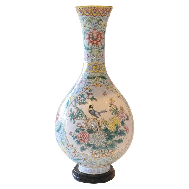 Vintage Chinese Enamel Vase, Flora & Fauna Details For Sale