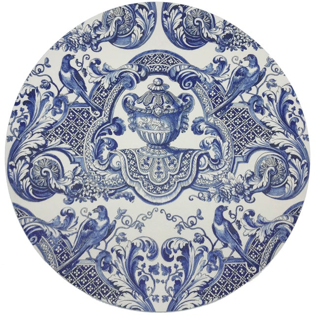 """Modern Nicolette Mayer Royal Delft William and Mary Blue 16"""" Round Pebble Placemats, Set of 4 For Sale - Image 3 of 3"""