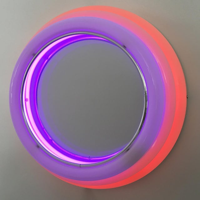 Memphis Sottsass Style Round Neon Wall Mirror & Light For Sale - Image 3 of 8