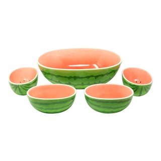 Vintage Watermelon Serving and Salad Bowls - Set of 5 For Sale