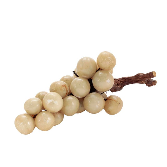 40s Italian Alabaster Grape Cluster With Real Stem For Sale - Image 4 of 4