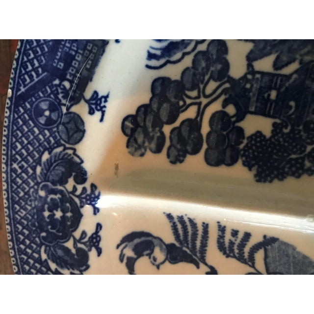 1940s Old Blue Willow Divided Grill Plate For Sale - Image 5 of 9