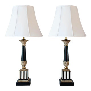 Hollywood Regency Black, White, Gold Lamps - a Pair For Sale
