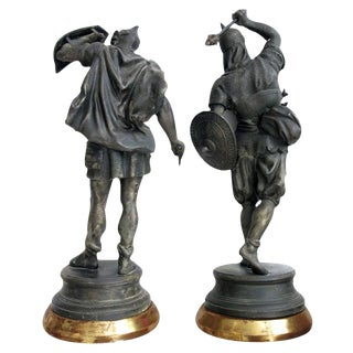 A Well-Executed Pair of English Spelter Figures of Visigoth Warriors For Sale