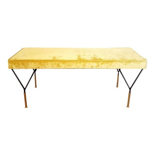 Mid-Century Modern Yellow Velvet Italian Bench For Sale