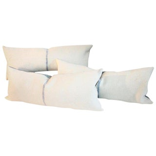 Blue Center Stripe Lambs Wool Pillows - Set of 3 For Sale